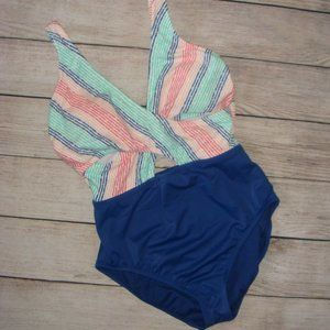 Beach Betty Slimming Control Wrap Front Swimsuit M
